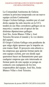 Comunicado del GC Gallego