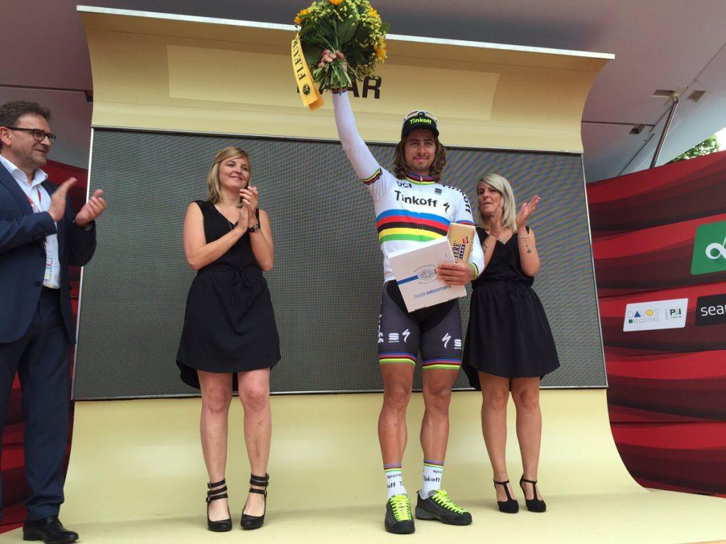 Sagan, en el podio © Tinkoff
