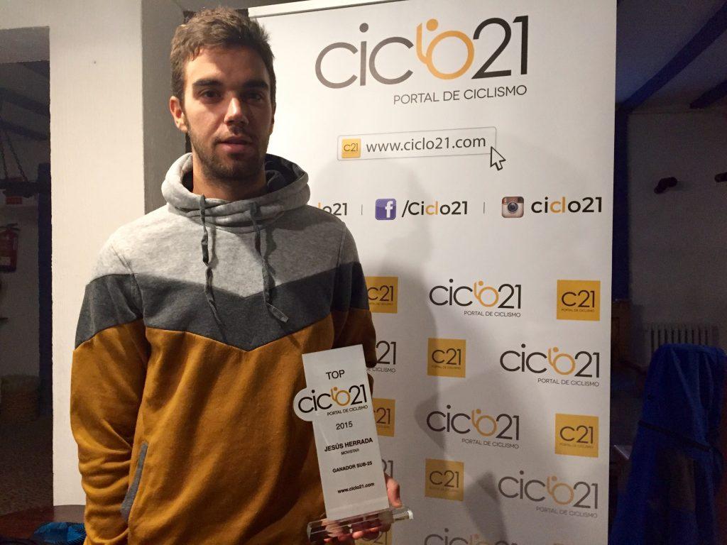 Jesús Herrada con el TOP Ciclo 21 al mejor joven de 2015